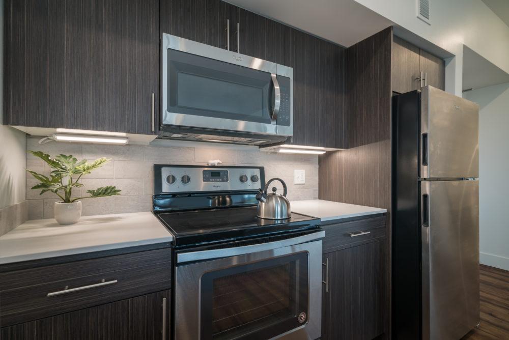 stove oven microwave fridge apartment