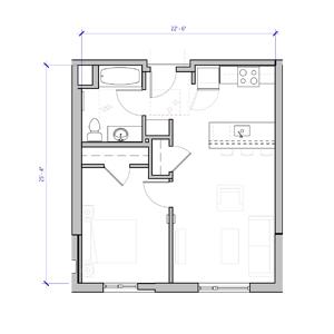 Oliver station Portland 2 bedroom layout